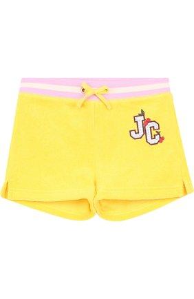 Детские хлопковые шорты с поясом на кулиске Juicy Couture желтого цвета | Фото №1