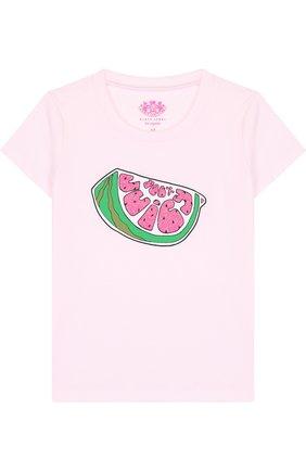 Детская хлопковая футболка с принтом Juicy Couture светло-розового цвета | Фото №1