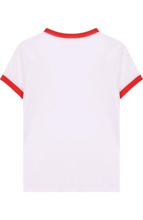 Детская хлопковая футболка с контрастной отделкой и стразами Juicy Couture белого цвета | Фото №1