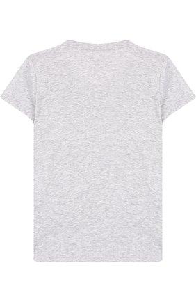 Детская хлопковая футболка с принтом Juicy Couture серого цвета | Фото №1