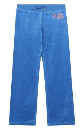 Хлопковые брюки свободного кроя Juicy Couture голубого цвета | Фото №1