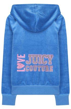 Хлопковый кардиган на молнии с капюшоном и принтом на спине Juicy Couture голубого цвета | Фото №1