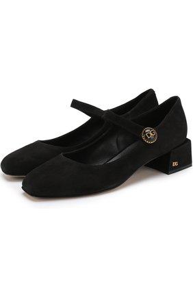 Замшевые туфли с фигурным каблуком | Фото №1