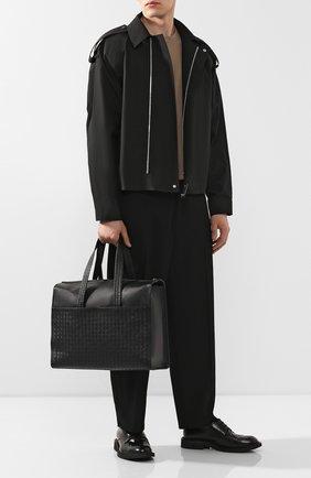 Мужская кожаная сумка BOTTEGA VENETA черного цвета, арт. 521011/VQ131 | Фото 2