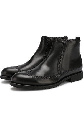 Кожаные ботинки с фактурной отделкой Aldo Brue черные | Фото №1