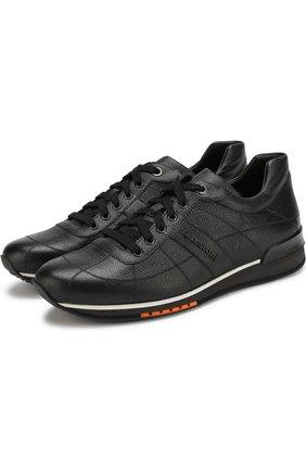 Кожаные кроссовки на шнуровке A. Testoni черные | Фото №1