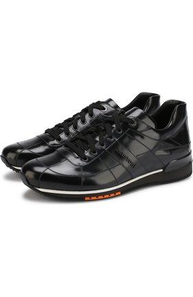 Кожаные кроссовки на шнуровке A. Testoni синие | Фото №1
