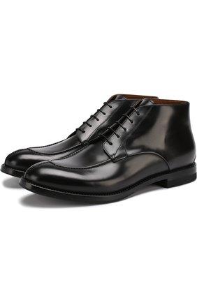 Кожаные ботинки на шнуровке W.Gibbs черные   Фото №1