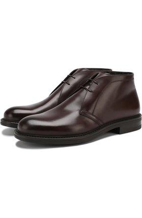 Кожаные ботинки с внутренней отделкой из овчины W.Gibbs черные   Фото №1