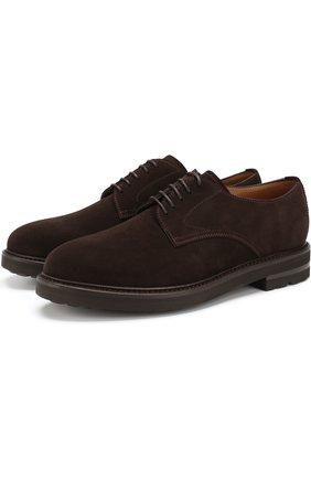Замшевые дерби на шнуровке H`D`S`N Baracco коричневые | Фото №1