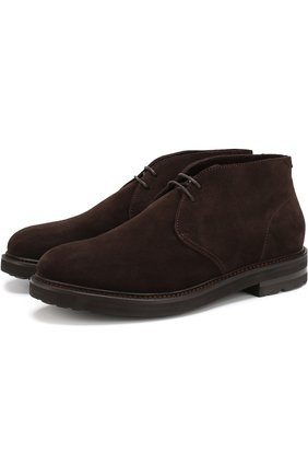 Замшевые ботинки с внутренней отделкой из овчины H`D`S`N Baracco коричневые | Фото №1