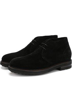 Замшевые ботинки с внутренней отделкой из овчины H`D`S`N Baracco черные | Фото №1