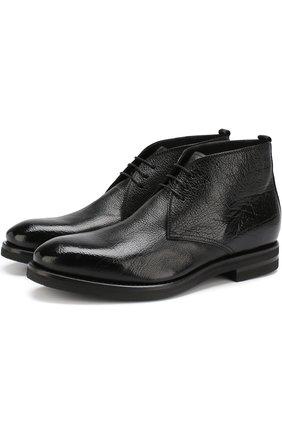 Кожаные ботинки с внутренней отделкой из овчины H`D`S`N Baracco черные | Фото №1