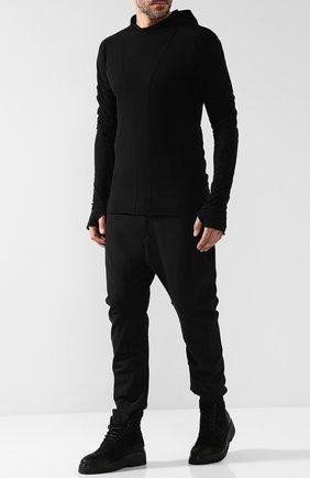 Удлиненный хлопковый лонгслив с капюшоном Masnada черная | Фото №1