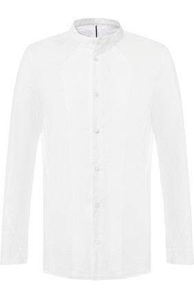 Хлопковая сорочка с воротником мандарин Masnada белая | Фото №1