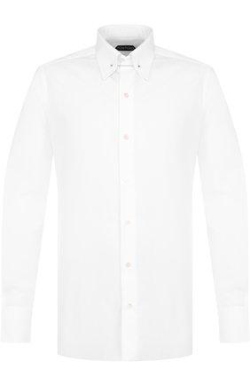 Мужская хлопковая сорочка с воротником на булавке TOM FORD белого цвета, арт. 4FT000/94S3JA | Фото 1