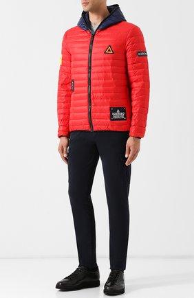 Стеганая куртка на молнии с контрастным капюшоном Iceberg черная   Фото №1