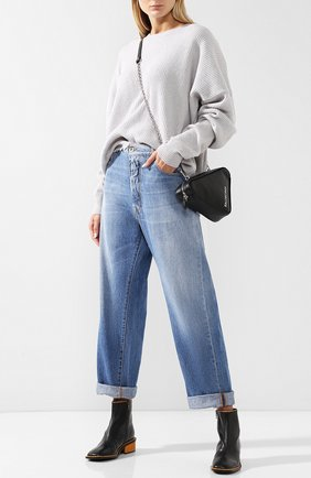 Укороченные джинсы с потертостями Ben Taverniti Unravel Project синие | Фото №1