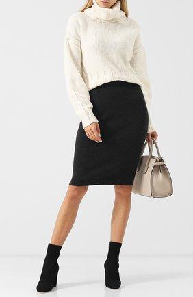 Однотонная юбка-карандаш из шерсти D.Exterior темно-серая | Фото №1