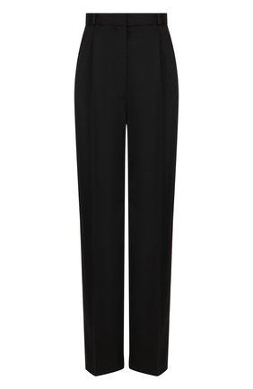 Шерстяные брюки со стрелками и завышенной талией The Row черные | Фото №1