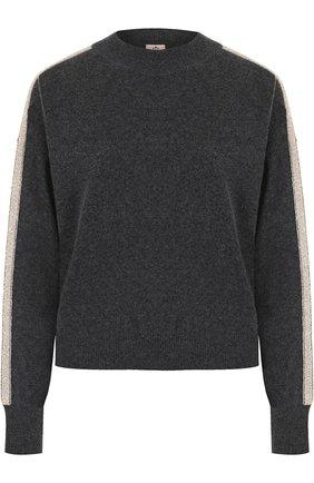 Пуловер с круглым вырезом и контрастной отделкой FTC темно-серый   Фото №1