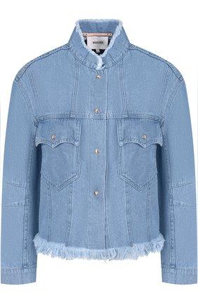 Джинсовая куртка с накладными карманами и бахромой   Фото №1
