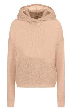 Однотонный вязаный пуловер с капюшоном   Фото №1