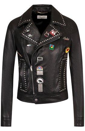 Кожаная куртка на молнии с декоративной отделкой | Фото №1