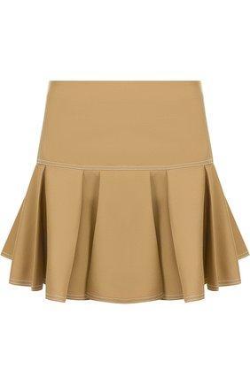 Однотонная мини-юбка с контрастной прострочкой | Фото №1