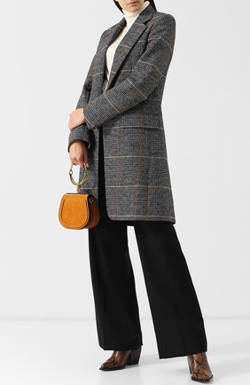 Пальто прямого кроя в клетку Chloé серого цвета   Фото №1