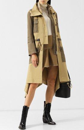 Пальто с накладными карманами и воротником-стойкой Chloé хаки   Фото №1
