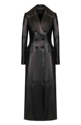 Приталенное кожаное пальто | Фото №1