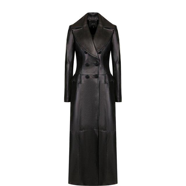 Приталенное кожаное пальто Jitrois