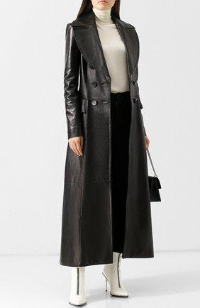 Женское приталенное кожаное пальто JITROIS черного цвета, арт. C0AT MINA L0NG AGNEAU PL0NGE | Фото 2