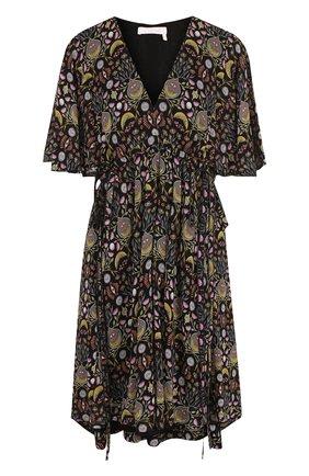 Приталенное мини-платье с V-образным вырезом и принтом Chloé черное   Фото №1
