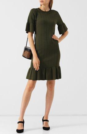 Однотонное мини-платье с круглым вырезом и оборками MICHAEL Michael Kors черное   Фото №1