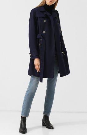 Двубортное пальто с поясом и карманами MICHAEL Michael Kors синего цвета   Фото №1