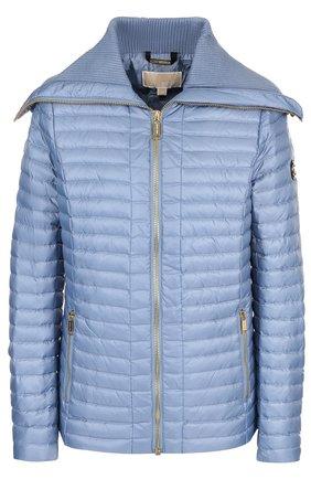 Однотонная стеганая куртка на молнии с карманами | Фото №1