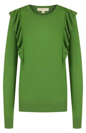 Однотонный пуловер с круглым вырезом и оборками MICHAEL Michael Kors зеленый   Фото №1