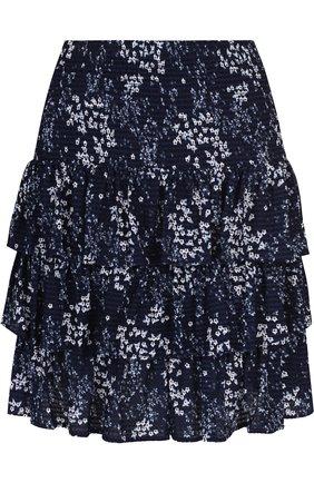 Мини-юбка с оборками и принтом MICHAEL Michael Kors разноцветная   Фото №1