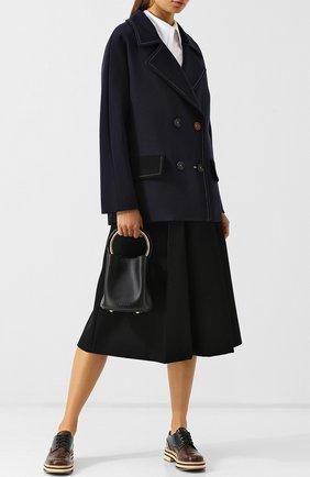 Двубортное шерстяное пальто с контрастной прострочкой Marni темно-синего цвета | Фото №1