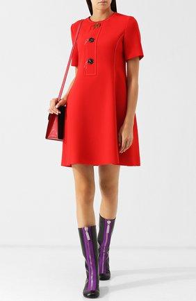 Шерстяное платье с круглым вырезом и декоративными пуговицами Marni красное | Фото №1