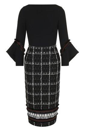 Приталенное платье-миди из смеси хлопка и шерсти | Фото №1