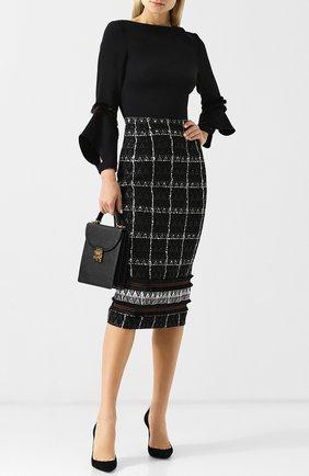 Приталенное платье-миди из смеси хлопка и шерсти Roland Mouret черное | Фото №1