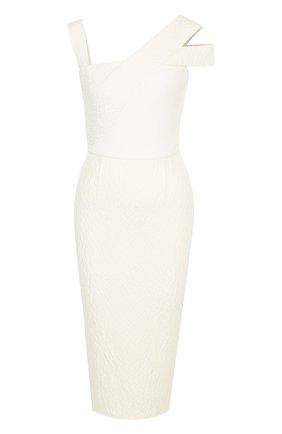 Приталенное платье-миди на молнии Roland Mouret белое | Фото №1