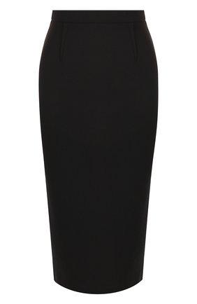 Однотонная шерстяная юбка на молнии | Фото №1