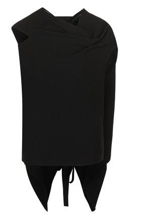 Однотонный шерстяной топ асимметричного кроя Roland Mouret черный | Фото №1