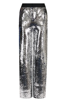 Брюки прямого кроя с пайетками Act n1 серебряные   Фото №1