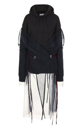 Хлопковый пуловер с капюшоном и декоративной сеткой Act n1 черный   Фото №1