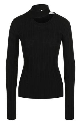 Шерстяной пуловер с воротником-стойкой Act n1 черный   Фото №1